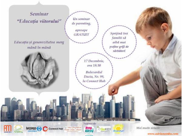 """Eveniment caritabil si un seminar gratuit despre """"Educatia Viitorului"""""""